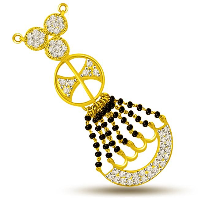 Sacred Thread Of Love Diamond & Gold Mangalsutra Pendants