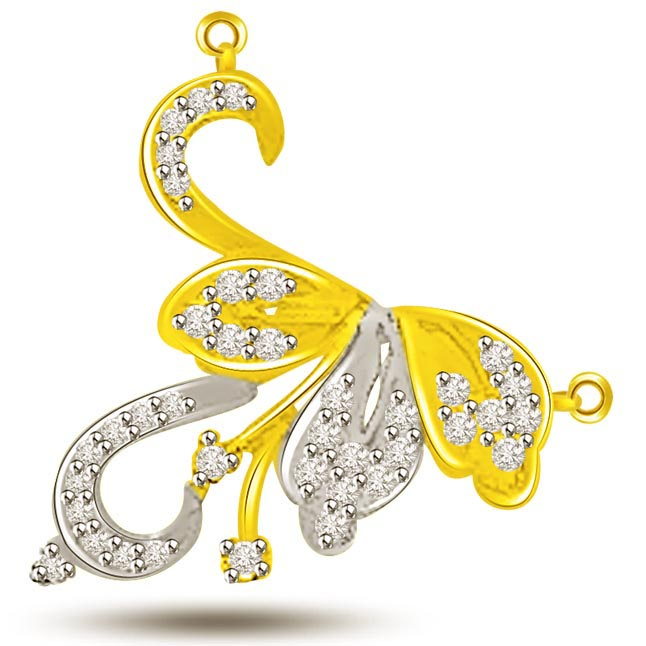 Spiral & Curve Two Tone Diamond Pendants Of Love