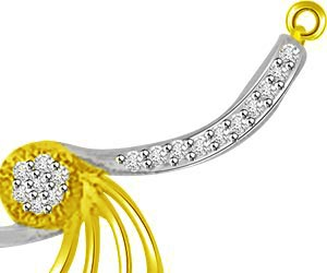 Spiral & Circles Two Tone Diamond Pendants For Her