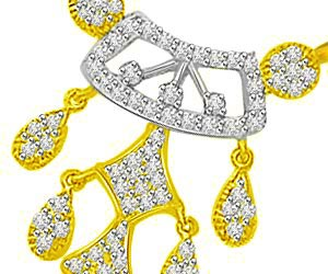 Two Tone Diamond Droplets Design Mangalsutra Pendants