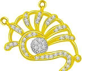 Twinning Spirals Diamond & Gold Fancy Pendants -Designer Pendants