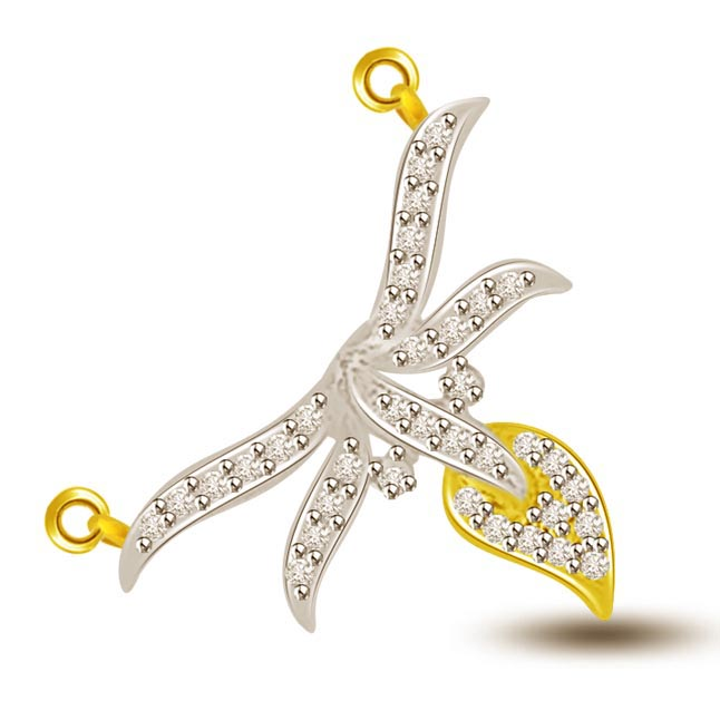 Wings Of Fire Diamond & Gold Leaf Pendants