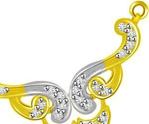 Elegant & Curvaceous Two Tone Diamond Pendants