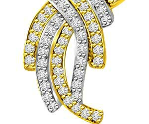 Stylish 0.57ct Two Tone Diamond & Gold Pendants