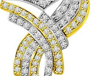 Stylish 0.57ct Two Tone Diamond & Gold Pendants
