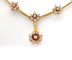 1.76 Cts Flower Shape Diamond Necklace -Diamond Necklace