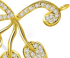 I Love My Life Gold & Diamond 3 Leaves Pendants Necklaces