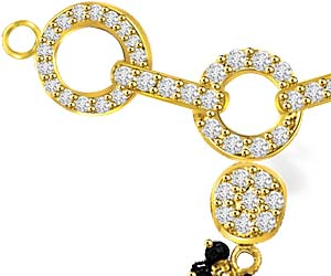 0.47ct Fancy Gold & Diamond Mangalsutra Pendants For Her