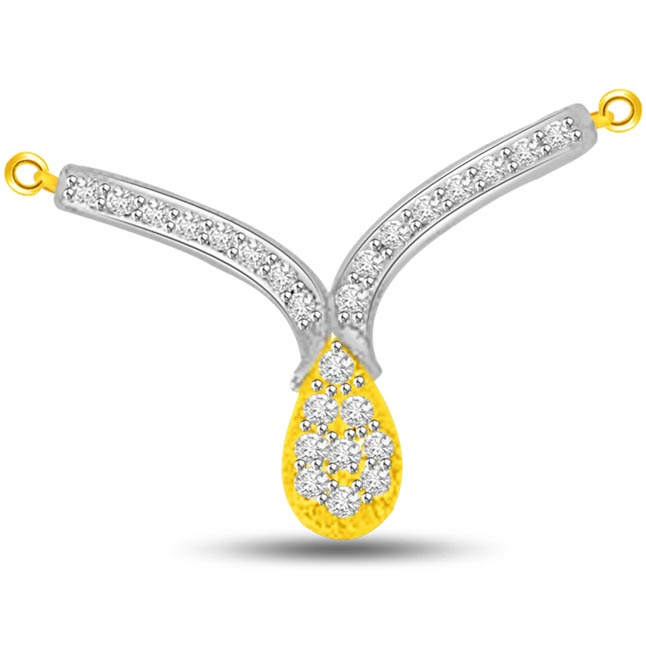 Flamboyant Two Tone Diamond & Gold Pendants For Her