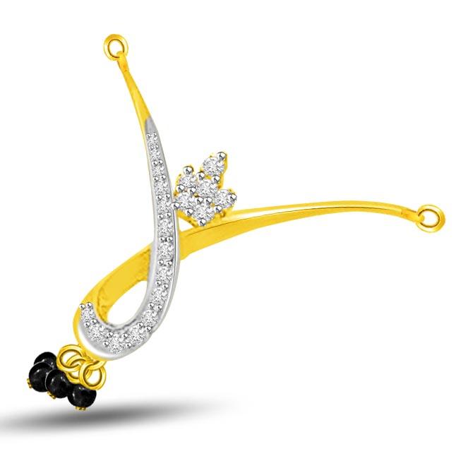 Beautiful Twist Two Tone Diamond Mangalsutra Pendants