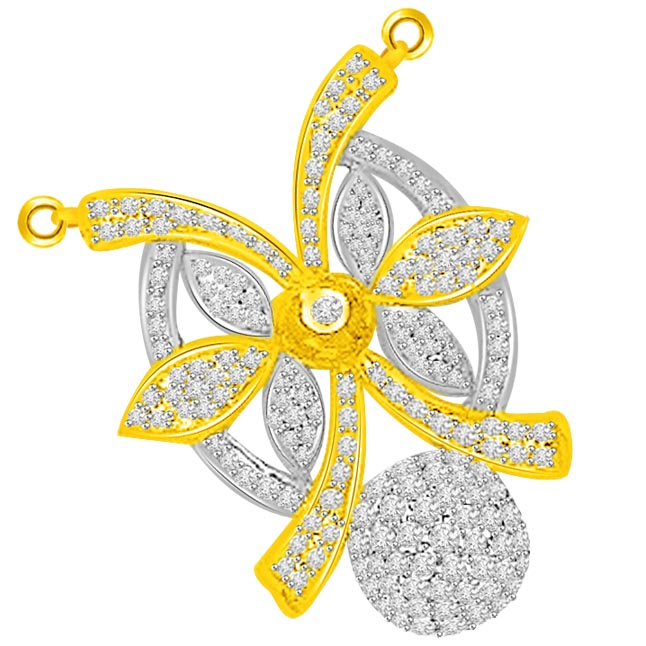 1.50ct Bow & Flower Chic Diamond Pendants Necklace