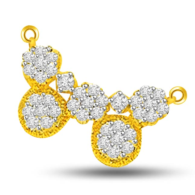 0.92ct Two Tone Fanciful Diamond Mangalsutra Pendants