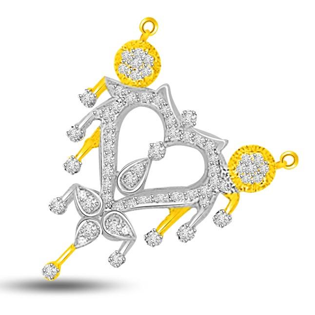 Heart of Ocean 0.56ct Heart Shape Two Tone Diamond Mangalsutra Pendants
