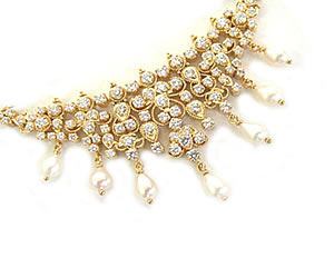 3.60 cts Diamond Pendants with Real Pearl Necklace -Diamond Necklace
