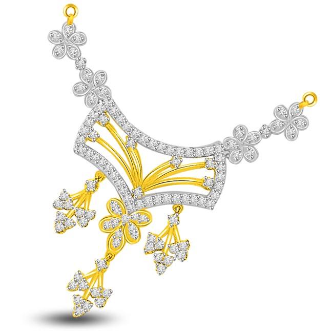 1.72ct Flowers & Stripes Diamond Necklace Pendants