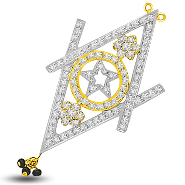 Star & Circle & Kite 1.02ct Diamond Mangalsutra Pendants