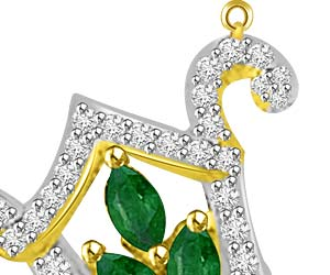 0.41ct Marquise Emerald & Diamond Gold Pendants