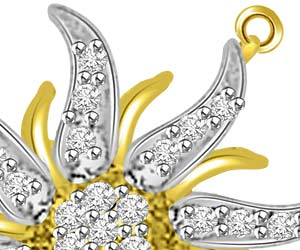 Star Power 0.35ct Two Tone Diamond Pendants -Flower Shape Pendants