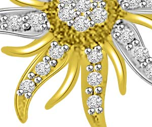 Star Power 0.35ct Two Tone Diamond Pendants -Flower Shape Pendants