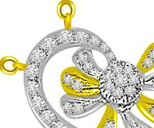 Stars & Spiral 0.59ct Diamond Pendants For Her -Flower Shape Pendants