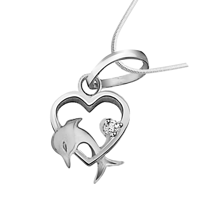 "Dolphin Heart - Real Diamond & Sterling Silver Pendants with 18"" Chain"