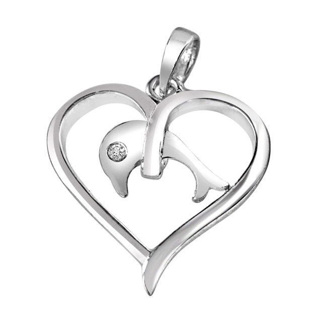 "Dolphin in my Heart Real Diamond & Sterling Silver Pendants with 18"" Chain"