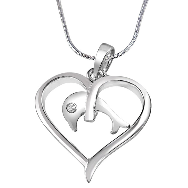 Dolphin in my Heart Real Diamond & Sterling Silver Pendant with 18 IN Chain