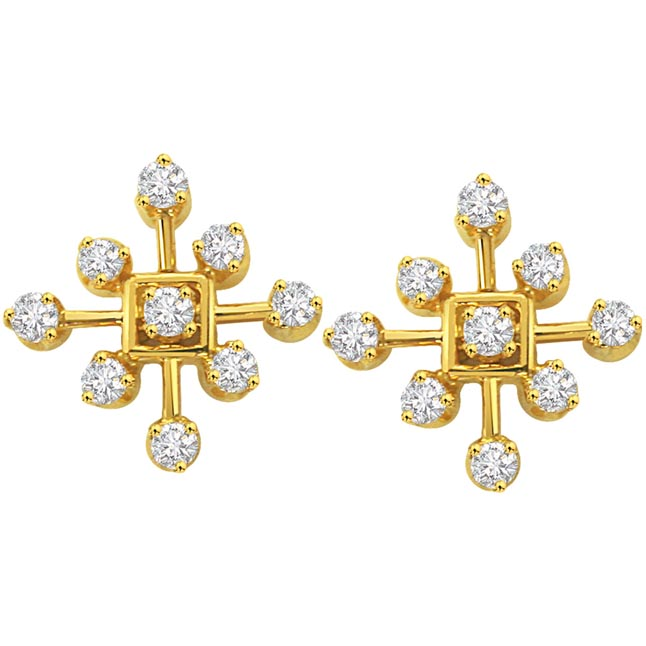 Dream Diamond Beauty Flower Shaped Earrings Geometrical