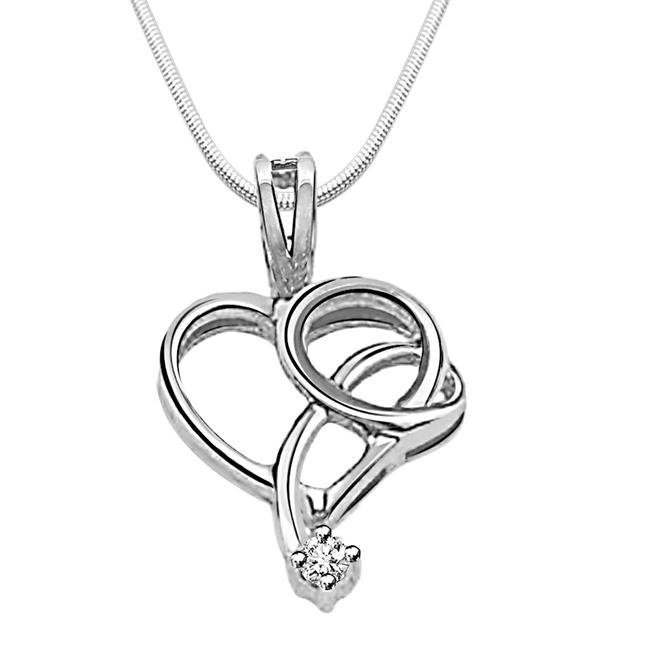"Drop of Love -Real Diamond & Sterling Silver Pendants with 18"" Chain"