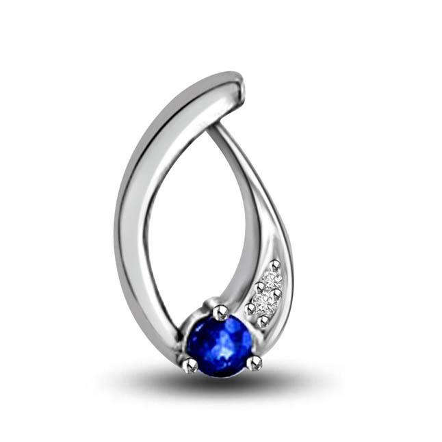 Drop Of Ocean:Diamond & Blue Sapphire Curvy Pendants For Her