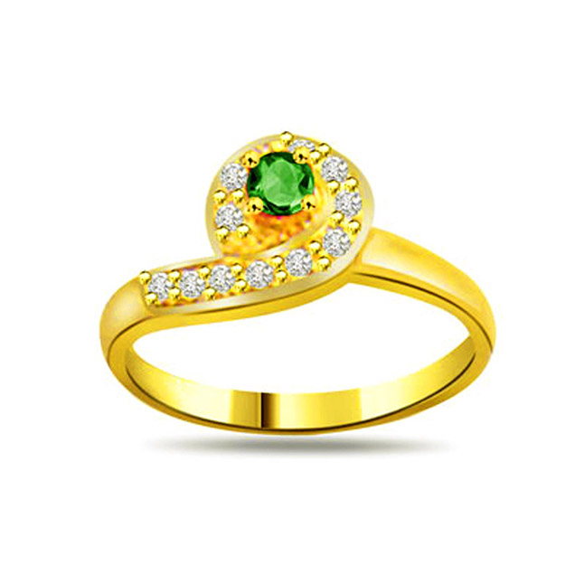 Drop of Passion 0.16ct Diamond & Emerald rings SDR1113 -Diamond & Emerald