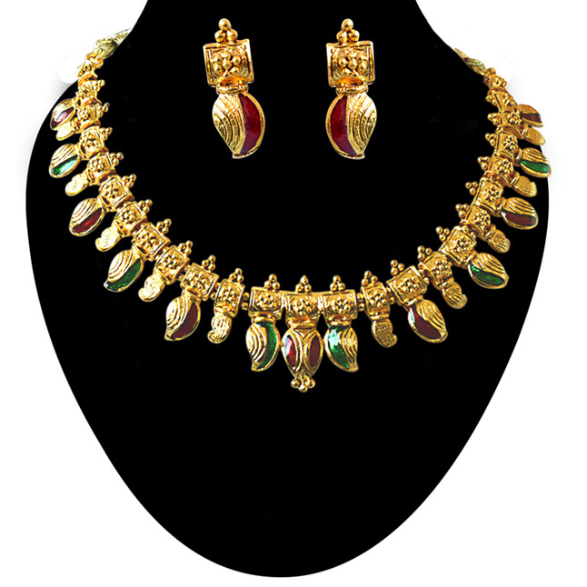 Drop Shaped Red & Green Enamelled Gold Plated Necklace Earrings Fashion Jewellery