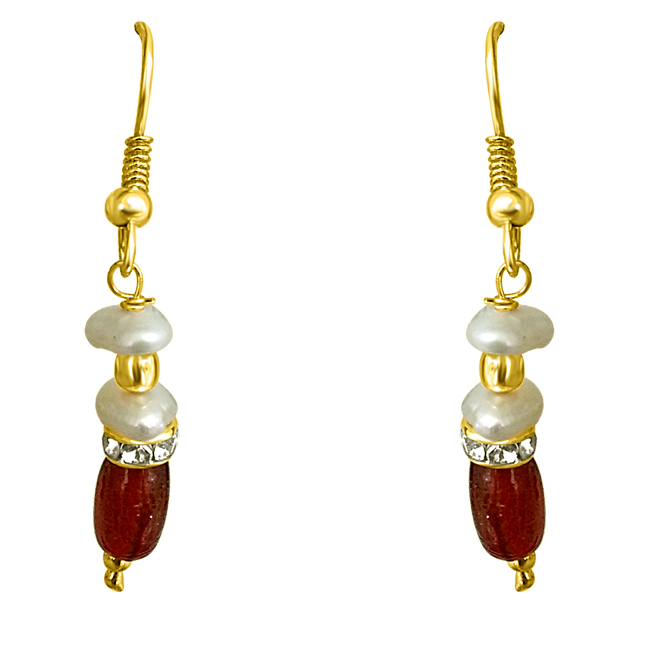 Drop Red Stone & Freshwater Pearl Earrings
