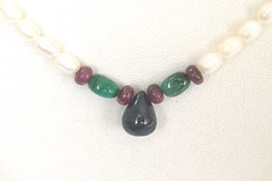 Drop Sapphire, Oval Emerald, Ruby Beads & Rice Pearl Necklace