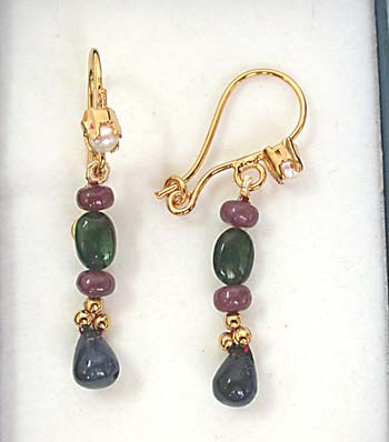 Drop Sapphire, Oval Emerald & Ruby Beads Earrings