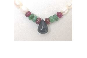 Drop Sapphire, Emerald, Ruby Beads & Rice Pearl Necklace