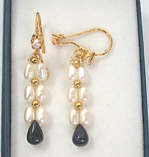 Drop Sapphire & Rice Pearl Earrings -Pres.Stone Hanging Earrings