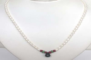Drop Sapphire, Emerald , Ruby Beads & Rice Pearl Necklace