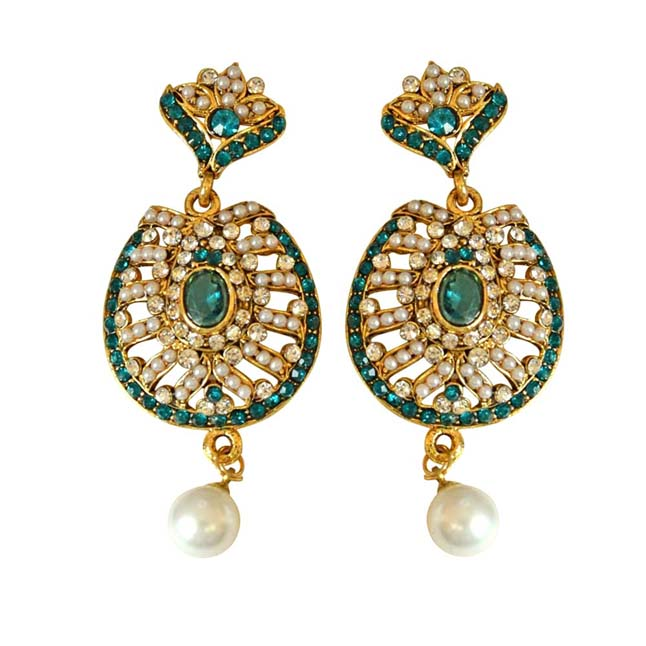 Drop Shaped Blue & White Coloured stone, Shell Pearl & Gold Plated Ch Bali Earrings