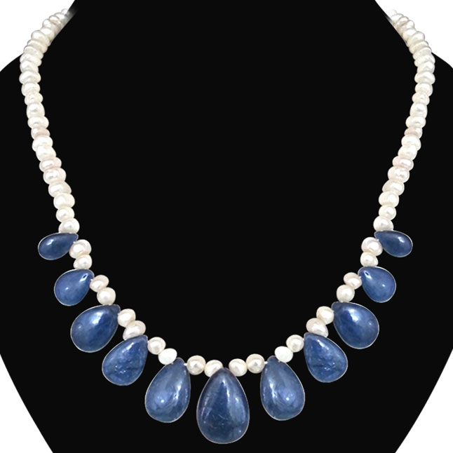 Real Drop Blue Sapphire & Freshwater Pearl Necklace -Single Line