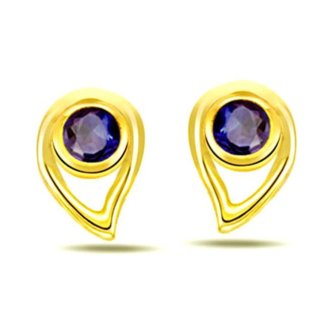 Drop Studs 0.30ct Drop Shape Sapphire Earrings -Dia & Gemstone