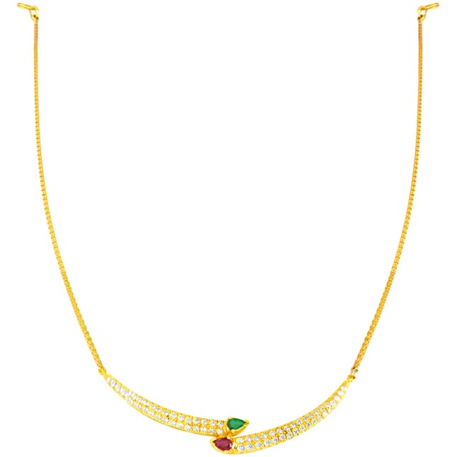 Buds of Love Diamond Necklace with Emerald & Ruby -Diamond Gemstone