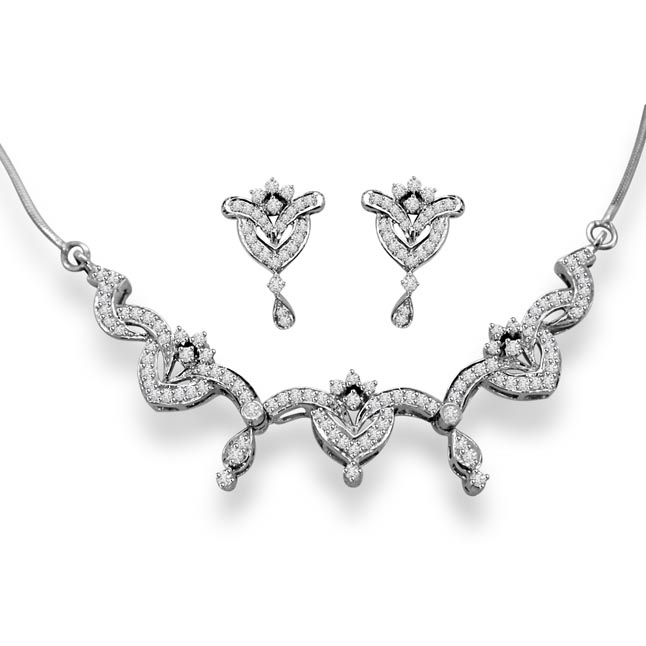 Sparkling Stars Rhodium Plated Diamond Necklace Set -Diamond Set