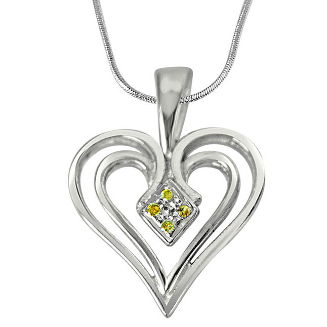 Dual Heart - Real Diamond & Sterling Silver Pendant with 18 IN Chain