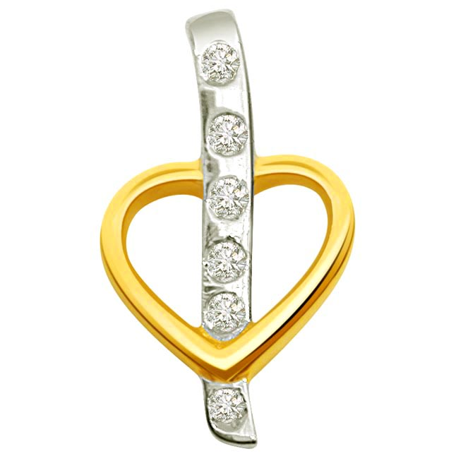 Dual Plated Diamond & Gold Heart Pendants.