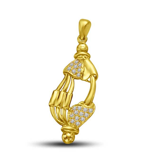 Elegant Design Delicate Diamond & Gold Pendants for My Love -Designer Pendants