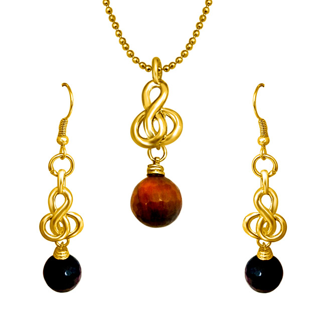Elegant Tiger Eye Ball & Gold Plated Pendant & Earring Set - Jewellery Set