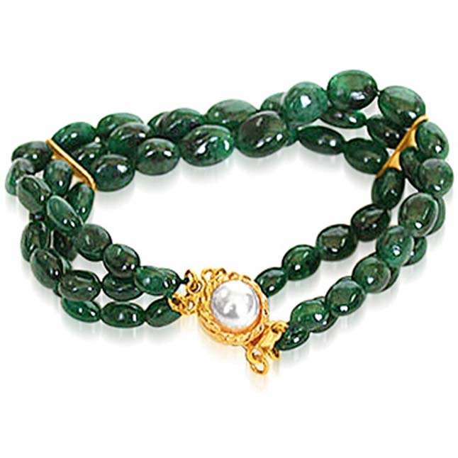 Emerald Beauty Charm - 3 Line Real Green Oval Emerald Cocktail Bracelet for Women (SB30)