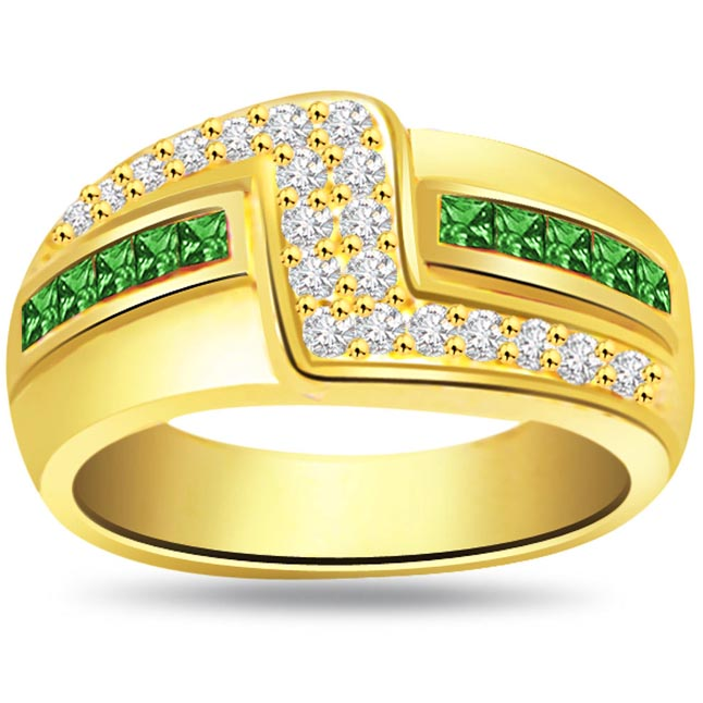 Emerald Enchantress 0.25ct Diamond & Emerald Gold rings SDR1077 -Diamond & Emerald