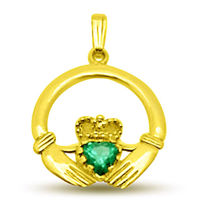 Emerald Heart in My H 18kt Heart Pendants